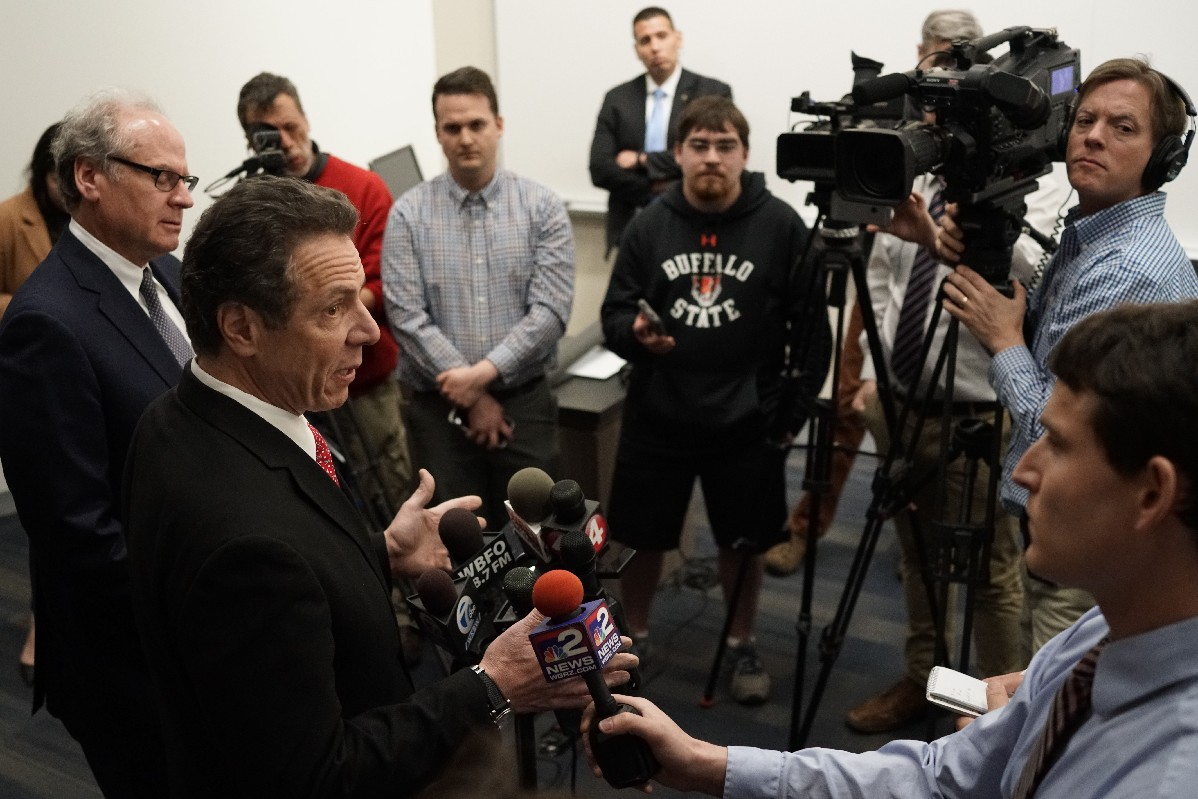 Gov. Andrew M. Cuomo tells reporters he thinks Lt. Gov. Kathy Hochul should challenge Rep. Chris Collins rather than seek re-election, acknowledging unsuccessful efforts last weekend to get her to make the switch. (Derek Gee/Buffalo News)
