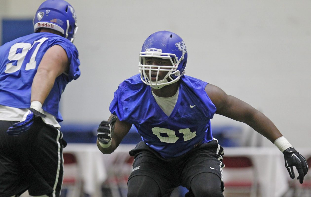 Former UB defensive end Demone Harris didn't start playing football until his junior year of high school. (Buffalo News file photo)