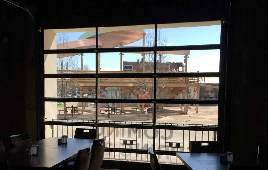 An Eckl's@Larkin dining room looks out over Larkin Square. (Andrew Galarneau/Buffalo News)