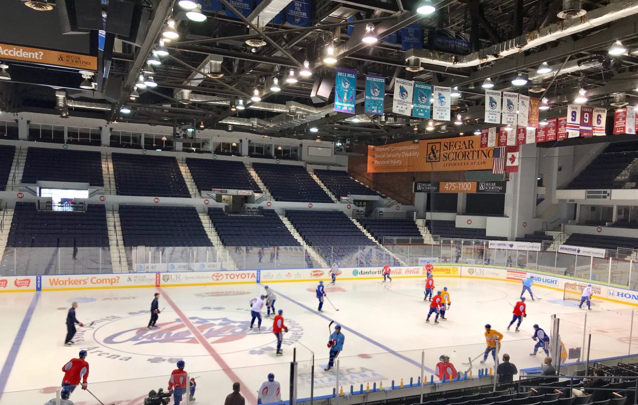 The Amerks practice in Rochester on Thursday before starting their playoffs Friday in Syracuse. (John Vogl/Buffalo News)