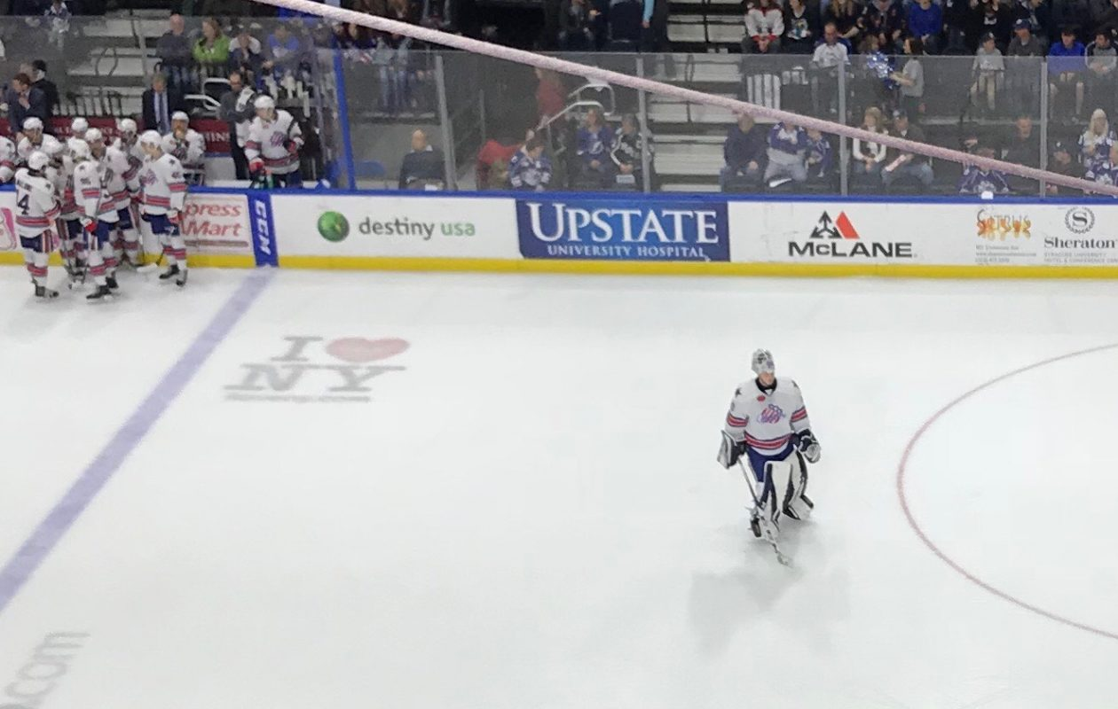 Rochester goaltender Linus Ullmark was left alone too often during the opening two playoff games. (John Vogl/Buffalo News)