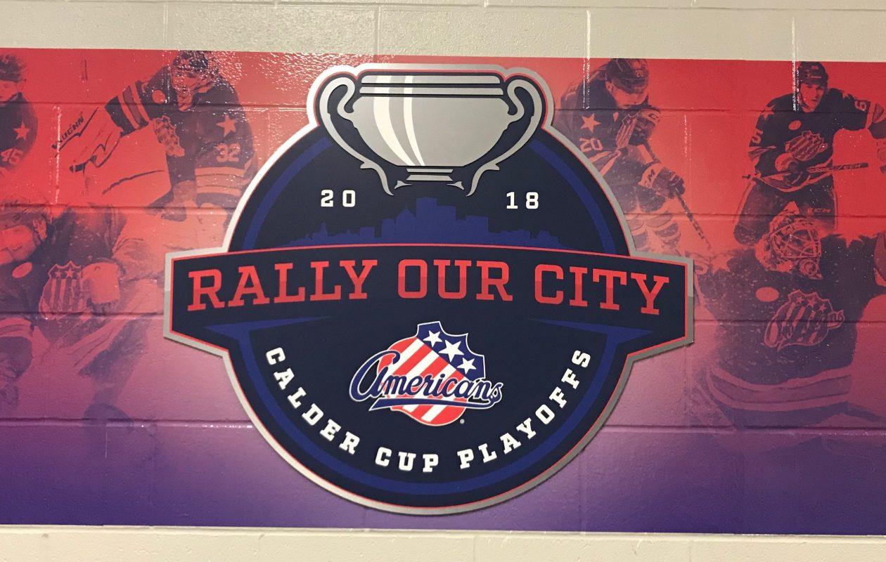Playoff mural outside the Amerks' dressing room in Blue Cross Arena. (John Vogl/Buffalo News)