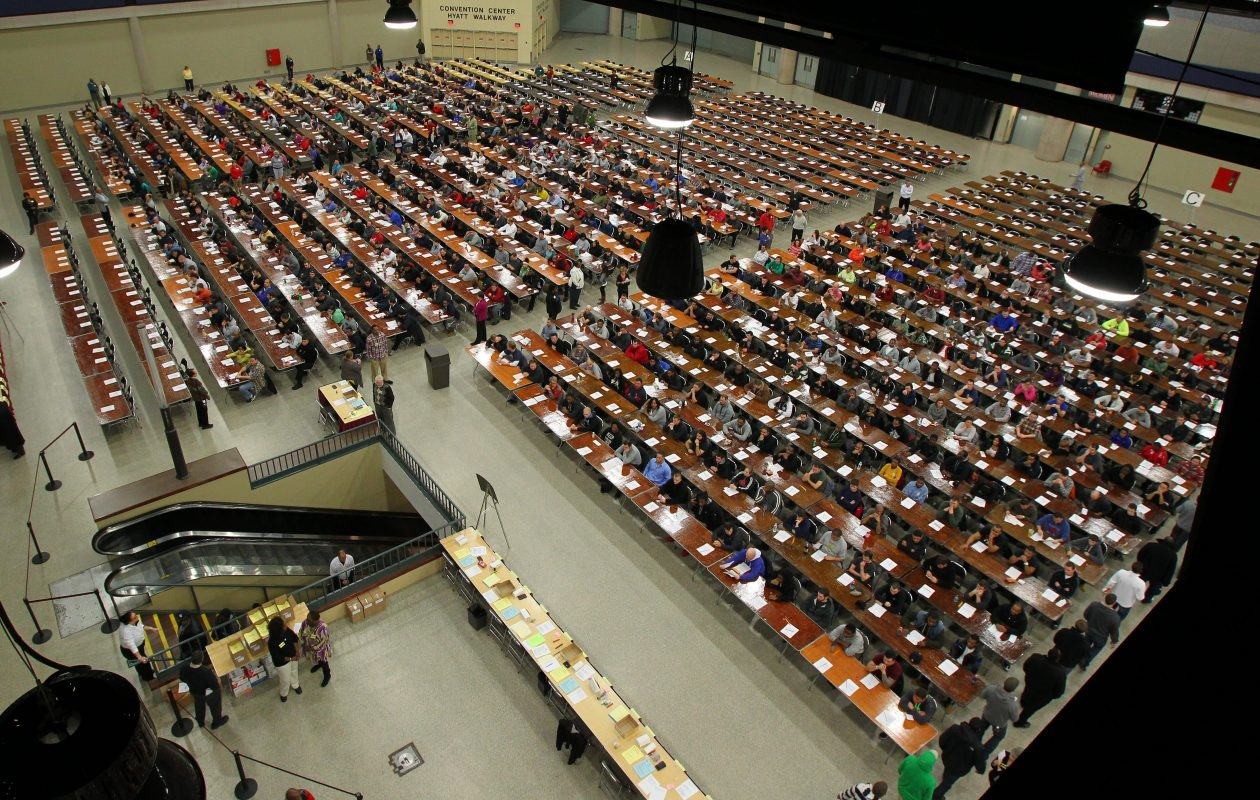 Applicants filled the Buffalo Niagara Convention Center for the last Buffalo Fire Department exam in November 2013. A new exam is scheduled for May 1. (Mark Mulville/News file photo)
