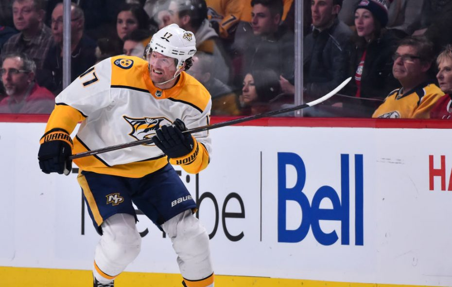 Nashville's Scott Hartnell got a major for boarding and game misconduct for his hit on Victor Antipin (Getty Images).