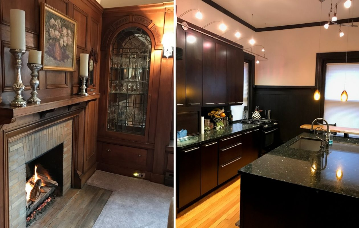 The dining room, left and kitchen in this week's featured home.  (Photos courtesy Meg Keller-Cogan)