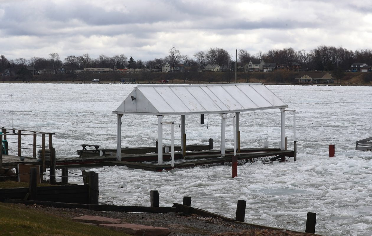 Ice flows down the eastern branch of the Niagara River, as seen from Grand Island on Wednesday. (John Hickey/Buffalo News)