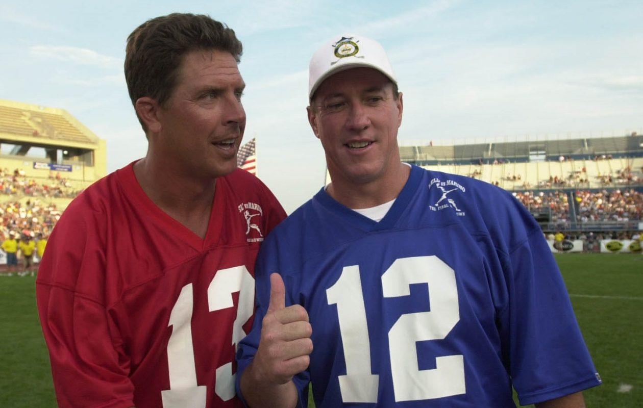 QBs Dan Marino and Jim Kelly at the coin toss before Kelly Showdown at the University at Buffalo on 7/21/02 (James P. McCoy/Buffalo News)