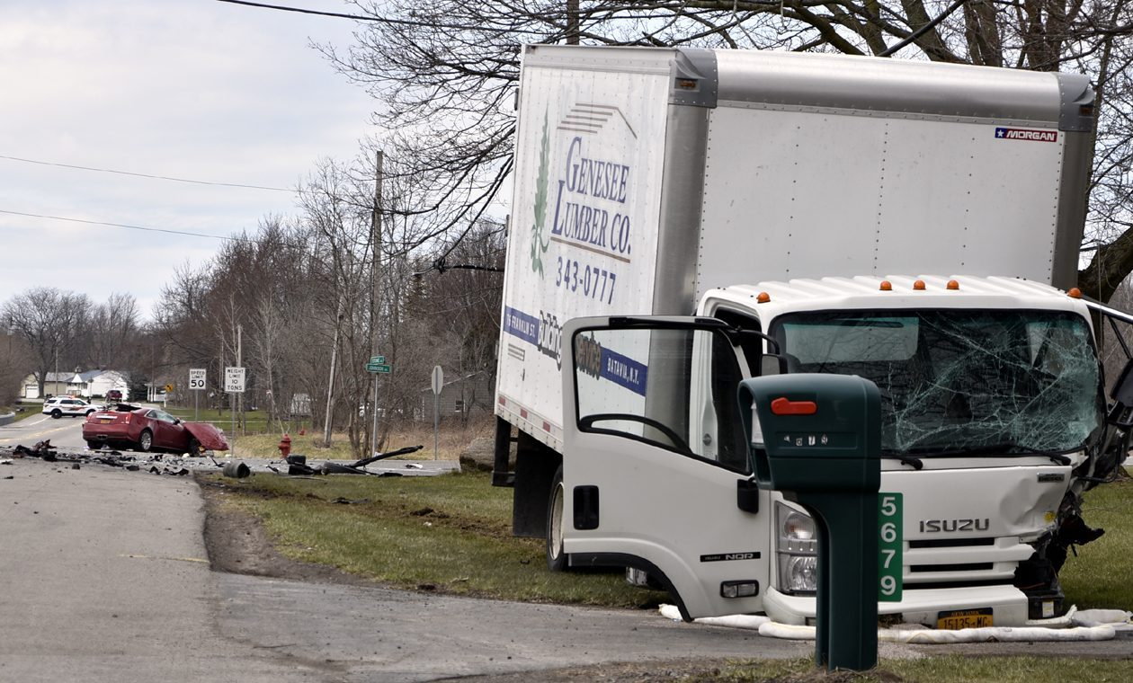 One person was killed and another seriously injured in this collision Thursday, April 19, 2018, in the Town of Lockport. (Larry Kensinger/Special to the News)
