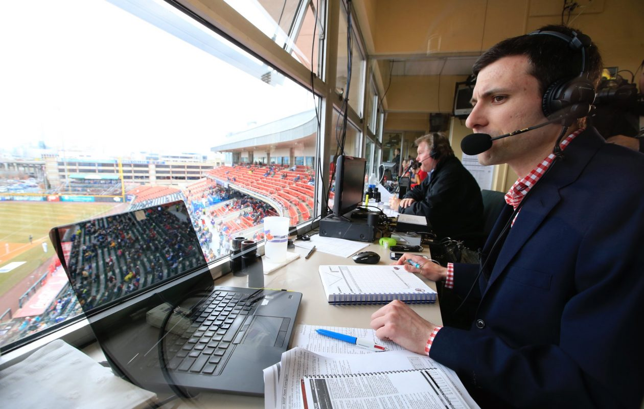 Buffalo native Pat Malacaro moved into the broadcast booth full time as the Voice of the Bisons. (Harry Scull Jr./Buffalo News)
