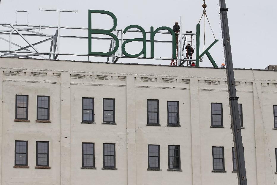 M&T Bank is putting a huge sign atop the Larkin Center of Commerce. (Derek Gee/Buffalo News)