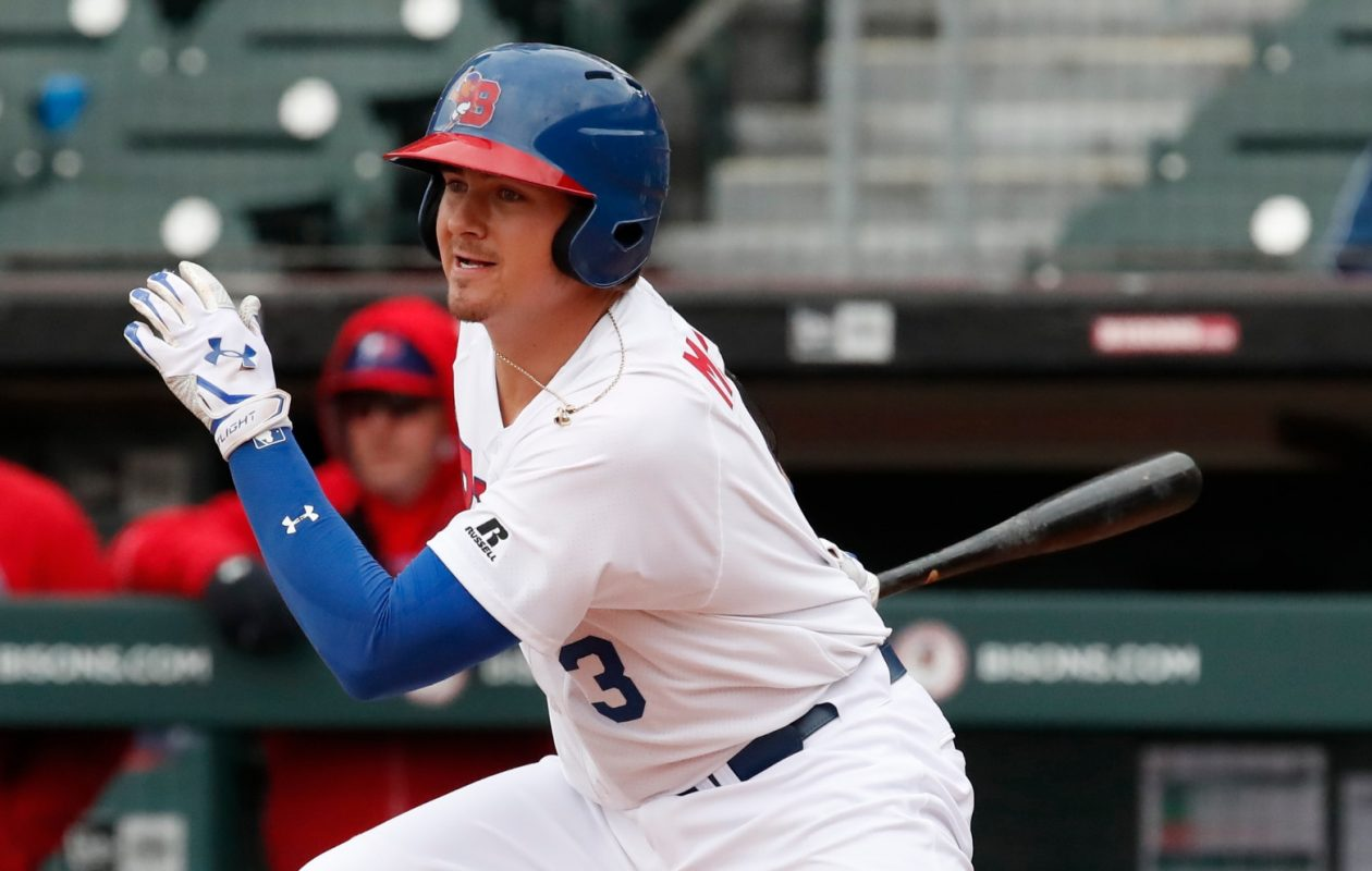 Reese McGuire's two-run single gave the Bisons a win in the opener (Harry Scull Jr./News file photo).