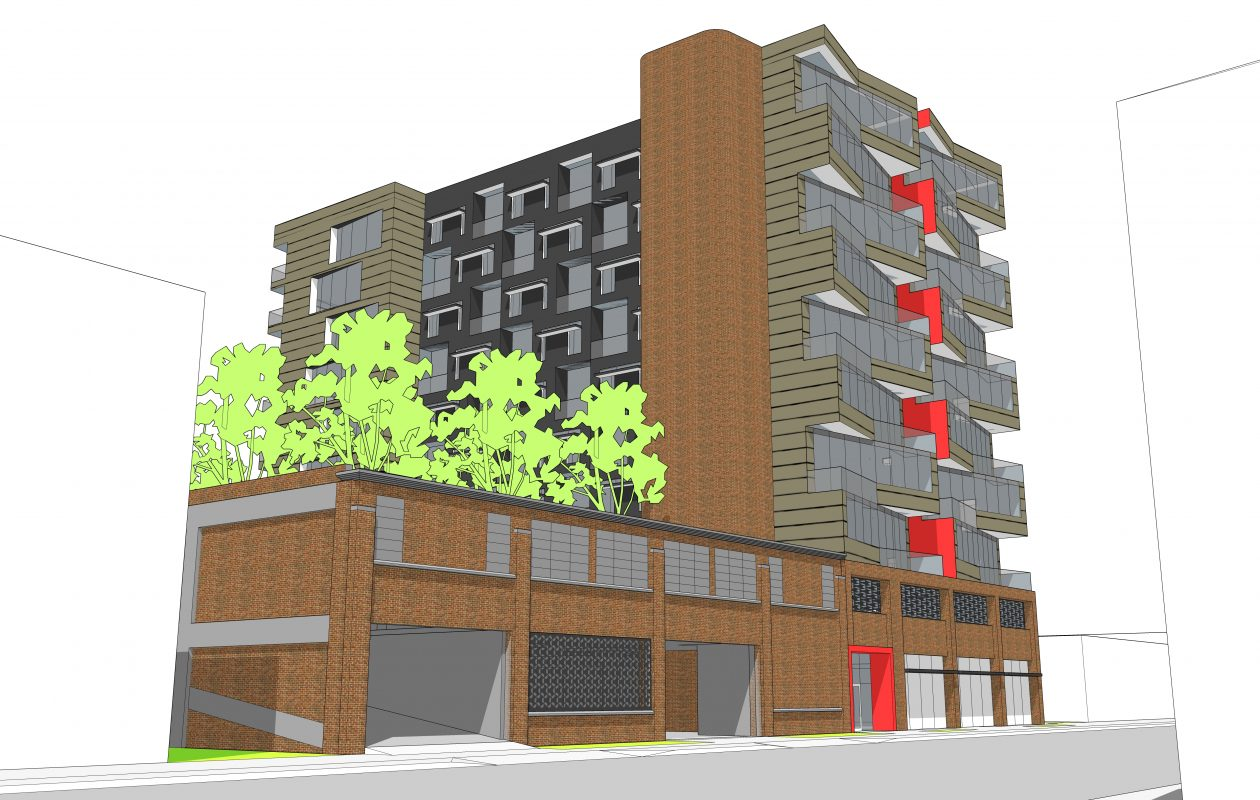This is a rendering of the proposed new 95-unit apartment building at 990 Niagara St.
