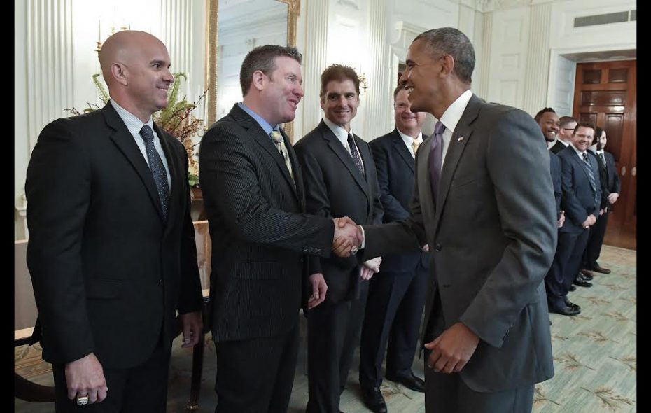 Mark Topping meets President Obama at the White House, after the president honored the Royals for winning the 2015 World Series, in July 2016. (Photo courtesy John Sleezer, photographer Kansas City Star)