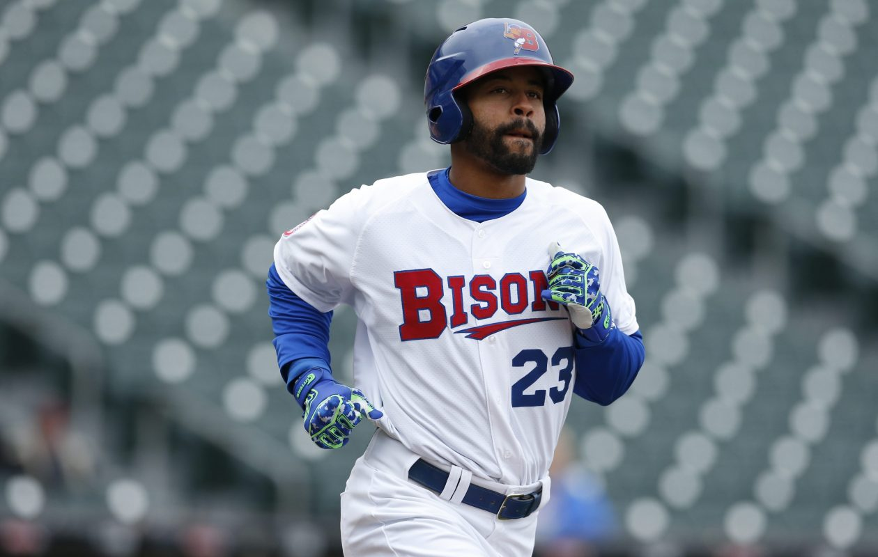 Dalton Pompey became the first Bisons to hit a home run lefty and right in the same game in nearly 10 years on Monday. (Harry Scull Jr./Buffalo News file photo)