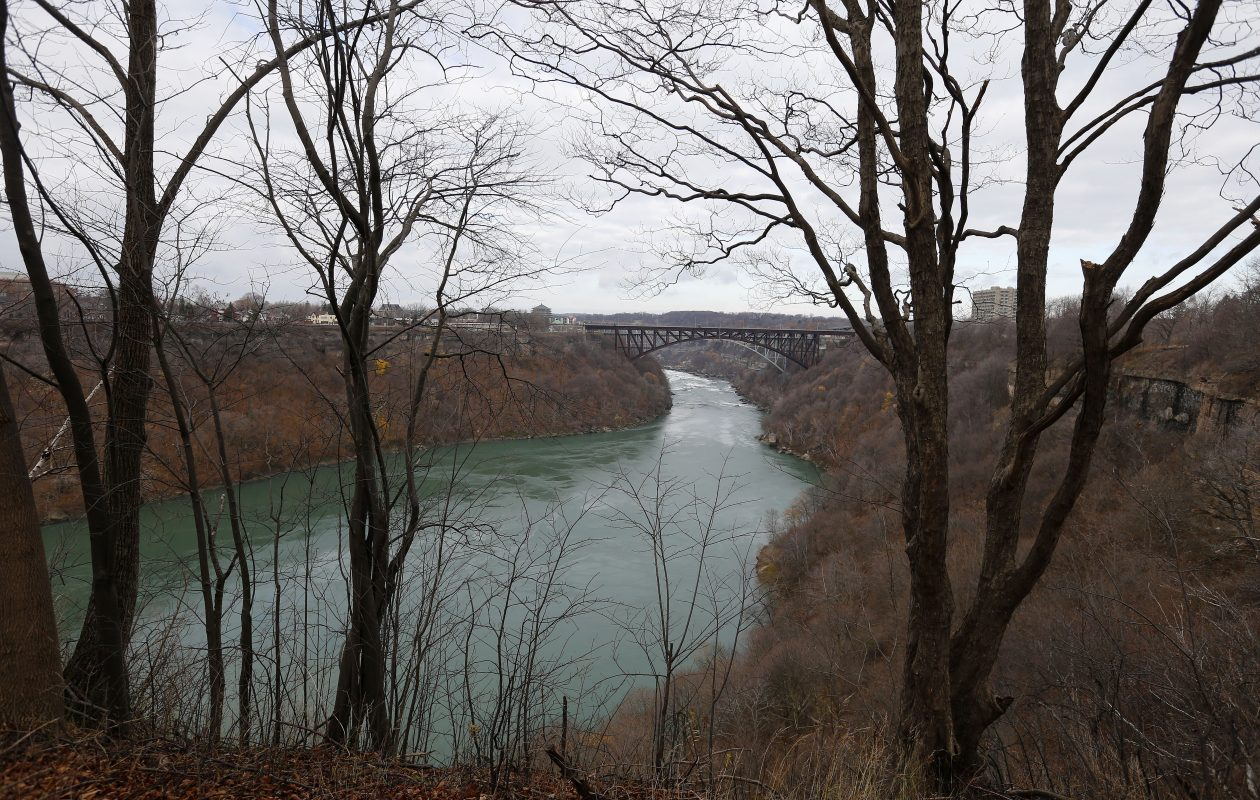 A view of the Niagara river from the Great Gorge Railway Trail Monday, December 5, 2016.  A nearly $1 millon resoration effort to eliminate invasive species is in the works for a stretch of the gorge from roughly the Rainbow to Whirlpool bridges.    (Mark Mulville/The Buffalo News)