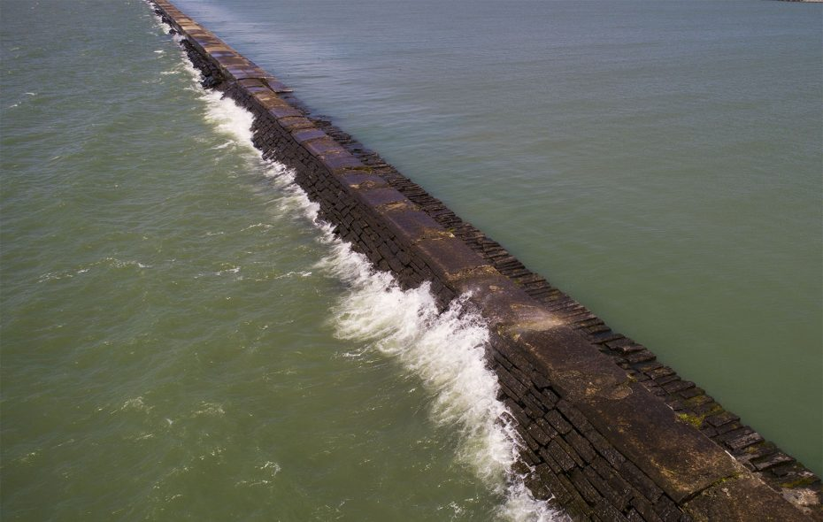 The deteriorating breakwater in the Outer Harbor is among the flood control projects that President Trump promises will not be threatened if he declares an emergency to build a wall along the country's southern border. (Derek Gee/Buffalo News)