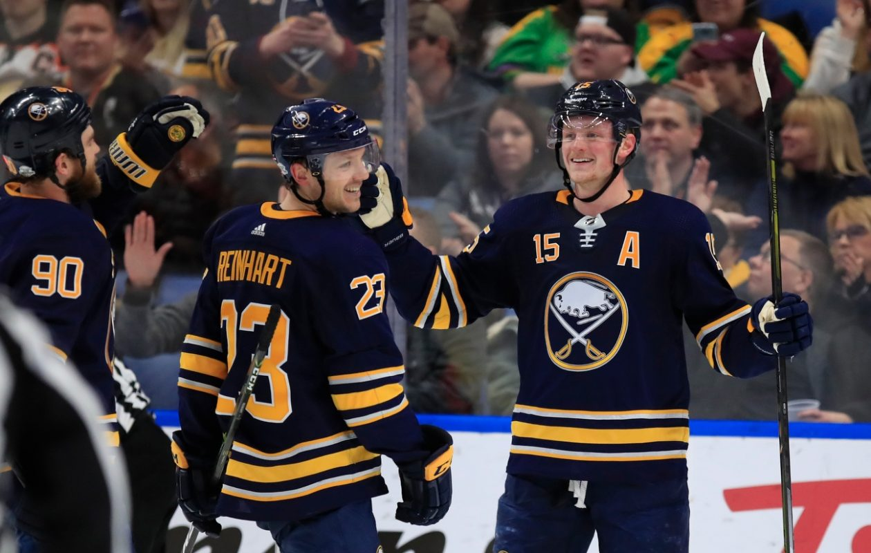 Ryan O'Reilly (90), Sam Reinhart and Jack Eichel (15) celebrated more often when the Sabres shot from close range. (Harry Scull. Jr./News file photo)