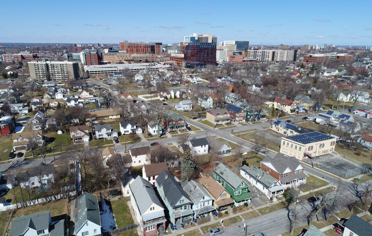 An aerial view of Buffalo's Fruit Belt neighborhood, situated just east of the growing Buffalo Niagara Medical Campus, pictured on Sunday, March 25, 2018. (Derek Gee/Buffalo News)