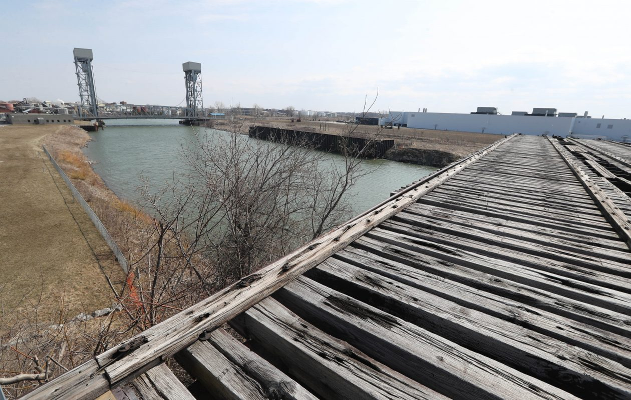The proposed high line along the DL&W right-of-way would start near the Swannie House and terminate near the half bridge overlooking the Buffalo River and SolarCity. (Sharon Cantillon/Buffalo News)