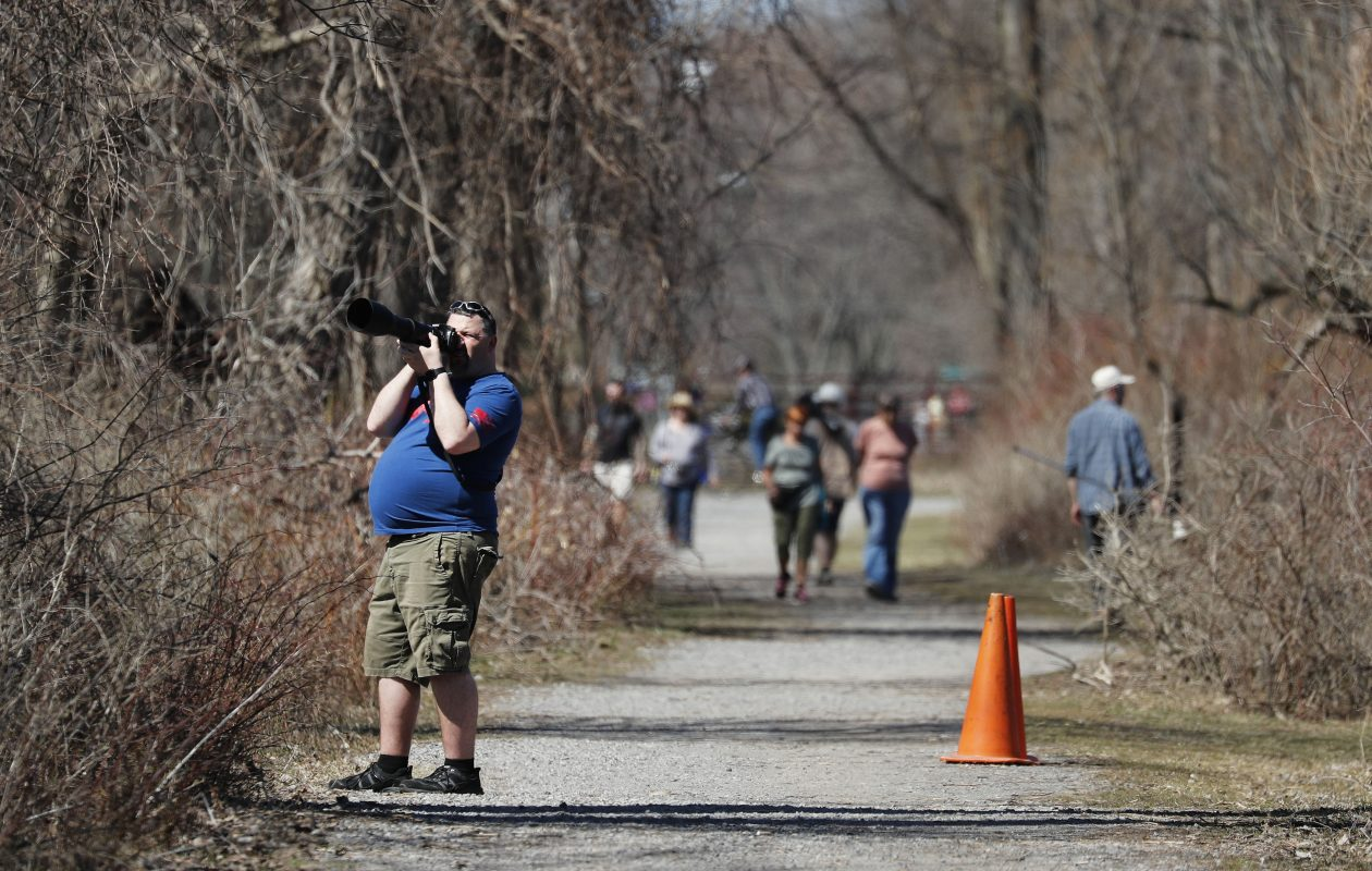 Kyle Preston snaps a photo in Reinstein Woods Nature Preserve in Cheektowaga.   (Mark Mulville/Buffalo News)