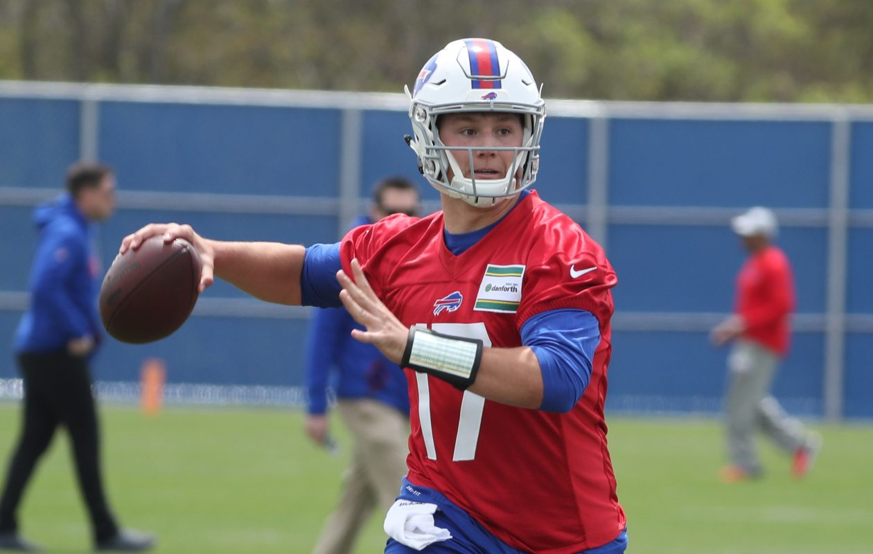 Buffalo Bills quarterback Josh Allen practices throwing and footwork drills at the start of rookie mini camp at ADPRO Sports Training Center on Friday, May 11, 2018. (James P. McCoy/Buffalo News)