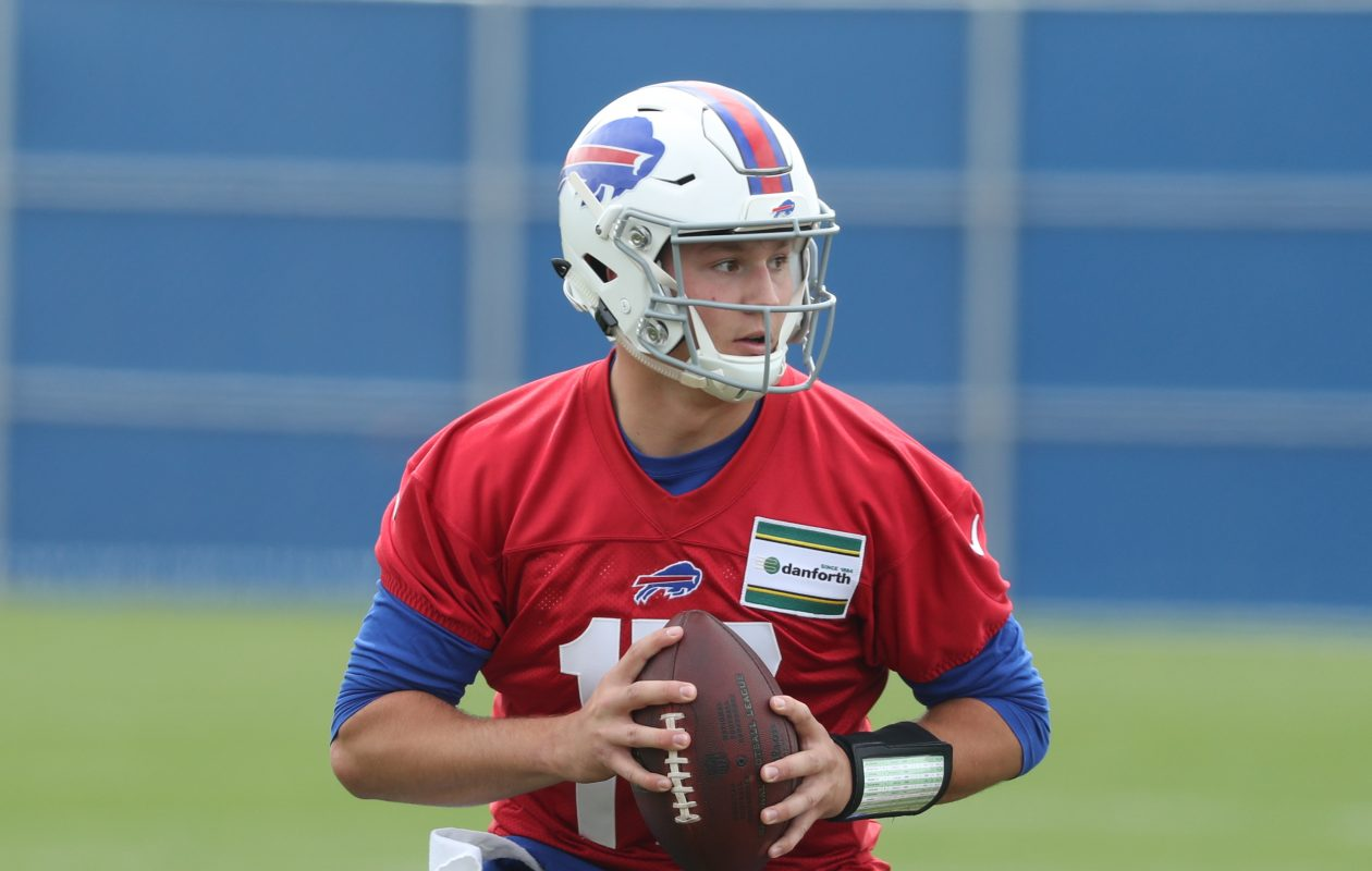 Buffalo Bills  Josh Allen practices throwing and footwork drills at the start of rookie mini camp at ADPRO Sports Training Center in Orchard Park, N.Y. on Friday, May 11, 2018.  James P. McCoy/Buffalo News