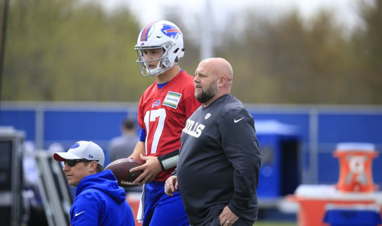 Bills offensive coordinator Brian Daboll and Josh Allen. (Harry Scull Jr./News file photo)