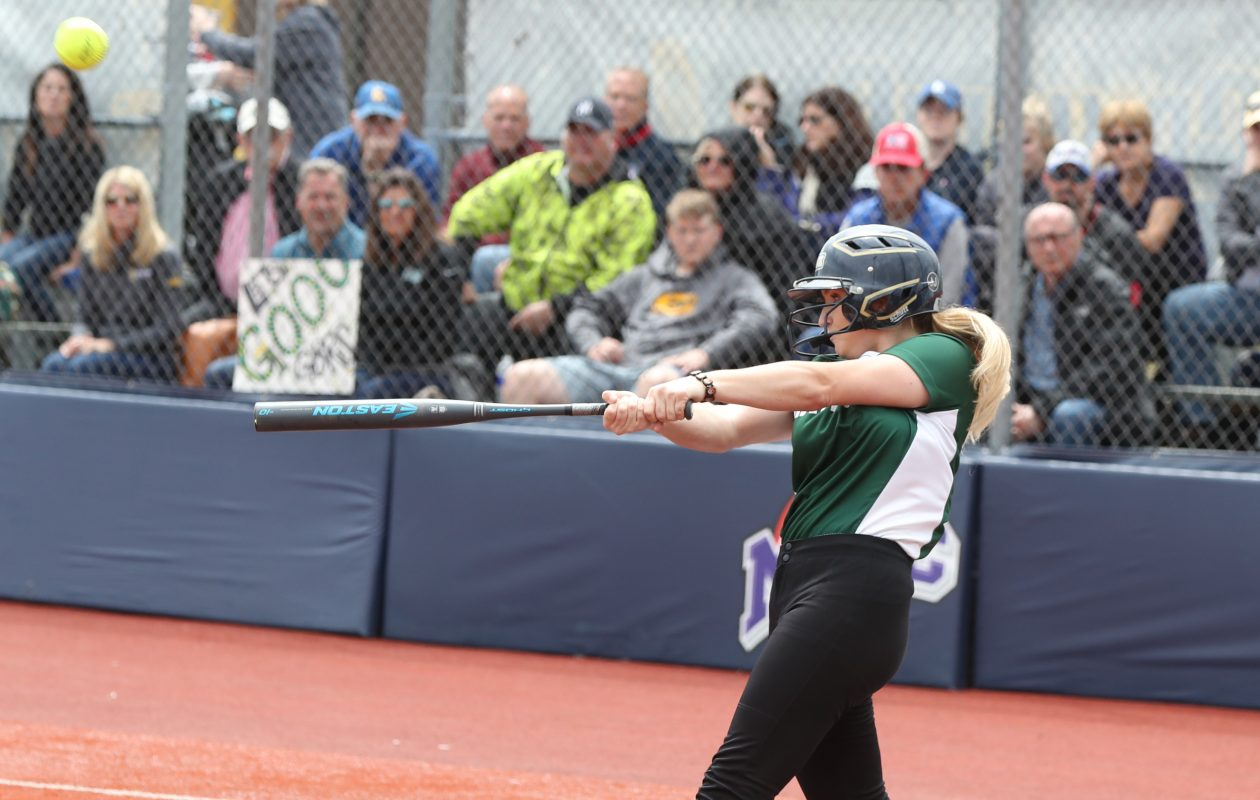 Nardin's Jessie DiPasquale hits a single in the third inning  during the Monsignor Martin semifinal Sunday at Canisius College.  (James P. McCoy/Buffalo News)