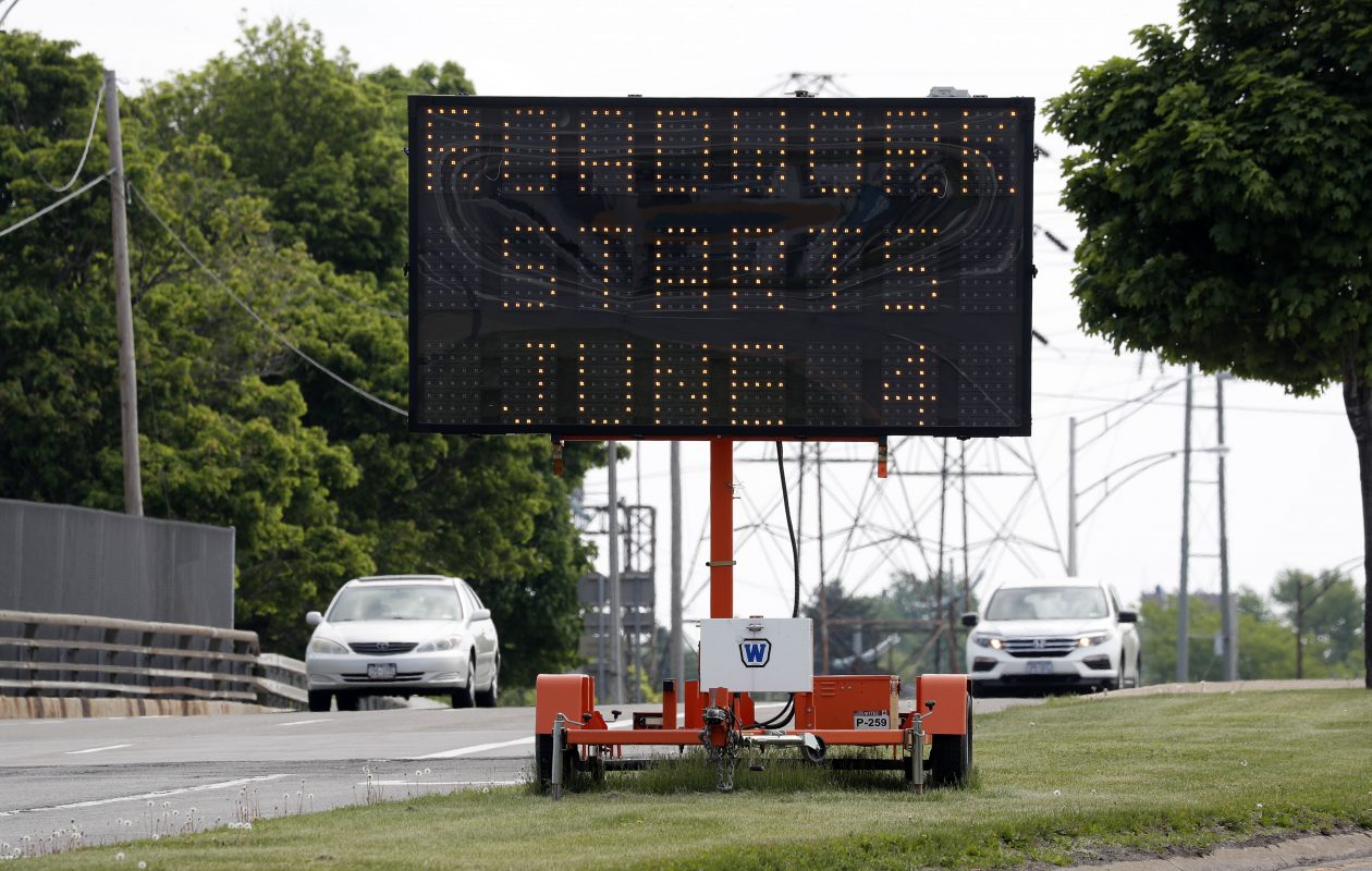 The state Department of Transportation placed a portable electronic message board at Kensington Avenue and Main Street alerting motorists that work on Main in the Village of Williamsville begins June 4 and that they should expect delays. Over 36,000 vehicles travel on this section of Main daily.  (Mark Mulville/Buffalo News)