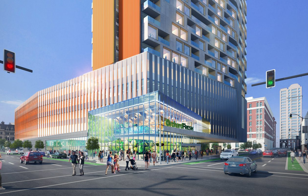 A rendering of Ciminelli Real Estate Corp.'s proposal for 201 Ellicott St.