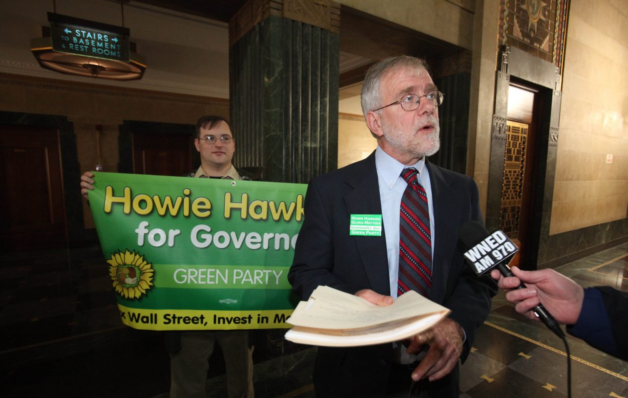 The Green Party has endorsed Howie Hawkins in his third bid for governor. Here, Hawkins is pictured during his 2010 campaign. (Robert Kirkham/Buffalo News file photo)