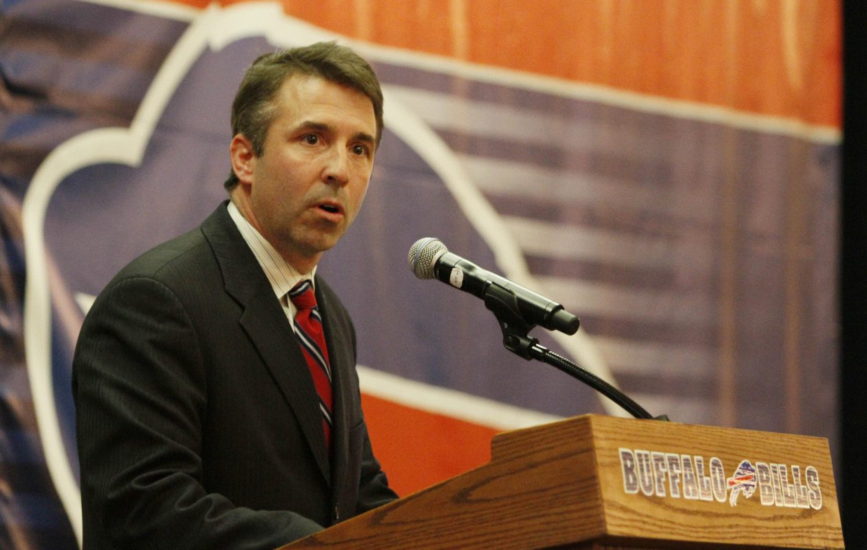 Russ Brandon speaks to fans during the 'State of the Bills' at the Hyatt in Buffalo on March 28, 2011.(Mark Mulville/Buffalo News)