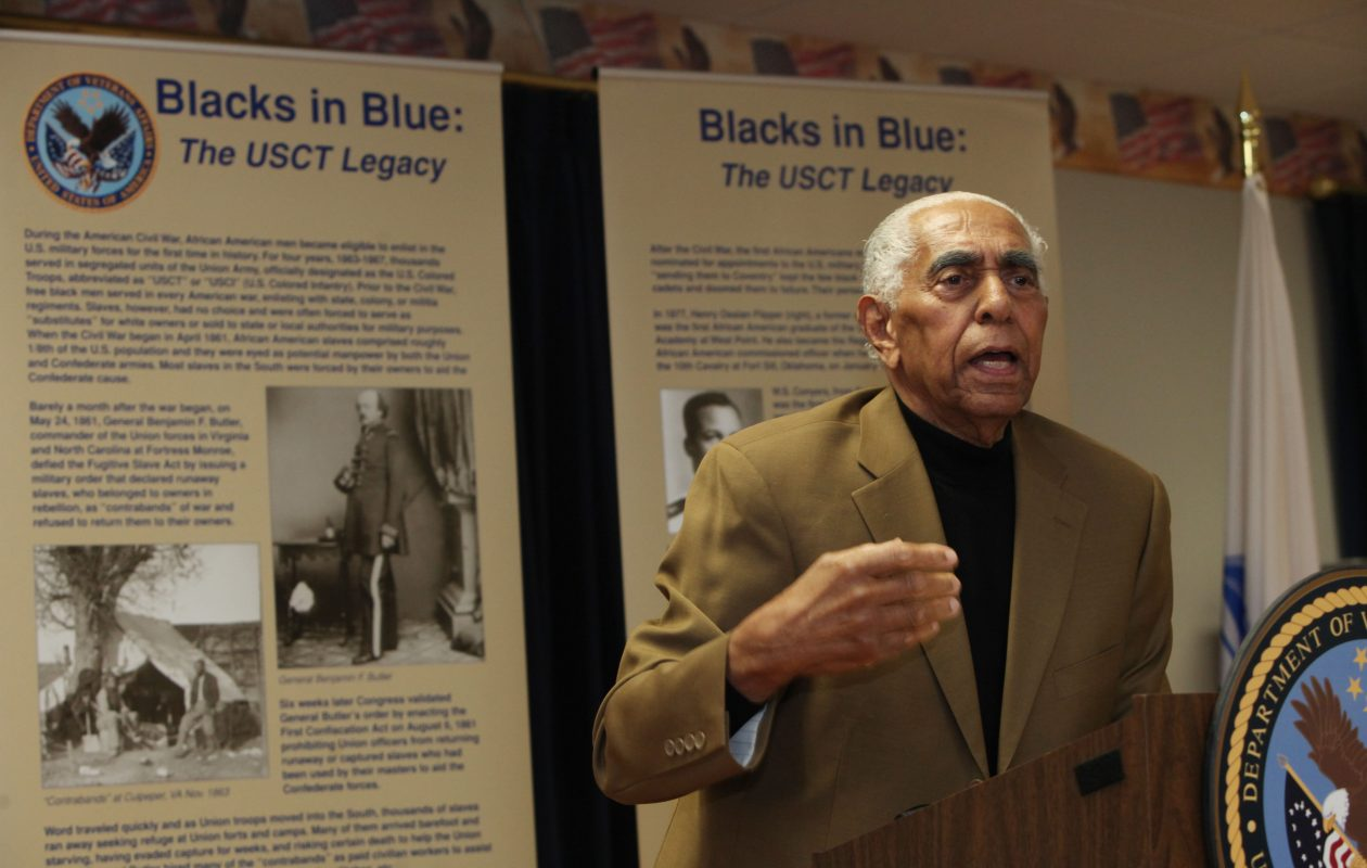 """Frank B. Mesiah never missed an opportunity to combat racism or educate people about the contributions of blacks, as when he keynoted the opening ceremony when the """"Blacks in Blue: The U.S. Colored Troop"""" traveling exhibit stopped at Buffalo's VA Hospital. (Sharon Cantillon/Buffalo News file photo)"""