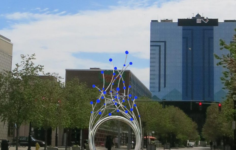 A rendering shows where a new sculpture based on the waters of Niagara Falls by artist Jesse Walp will soon be installed in downtown Niagara Falls.