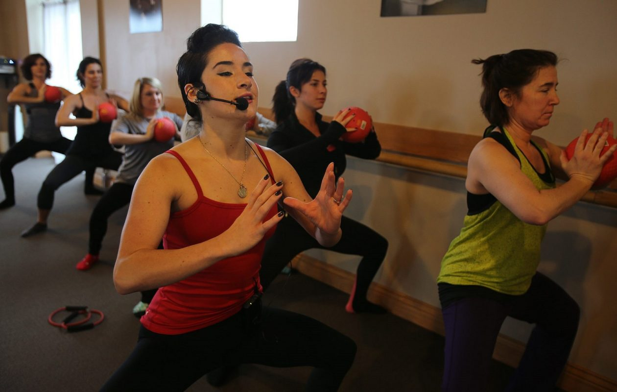 Gia de Zitter Freitas is pictured leading a class at Barre Centric in 2014. She still leads the way in 2018, where her business embraces Canalside on Mondays. (News file photo)