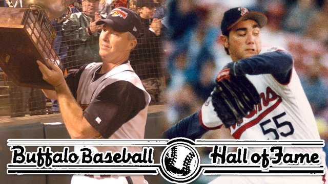 Marty Brown, left with the Governors Cup in 2004, and Joe Roa get their calls to the Buffalo Baseball Hall of Fame.
