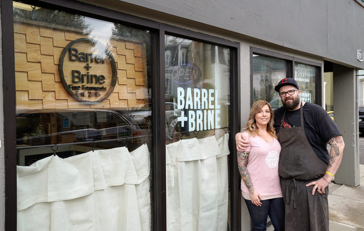 Owners RJ and Lindsey Marvin outside their Carolina Street shop. The pair will decamp to a new 3,500-square-foot location on Chandler St. in Black Rock later this summer as their business has outgrown its current location. (Dave Jarosz)
