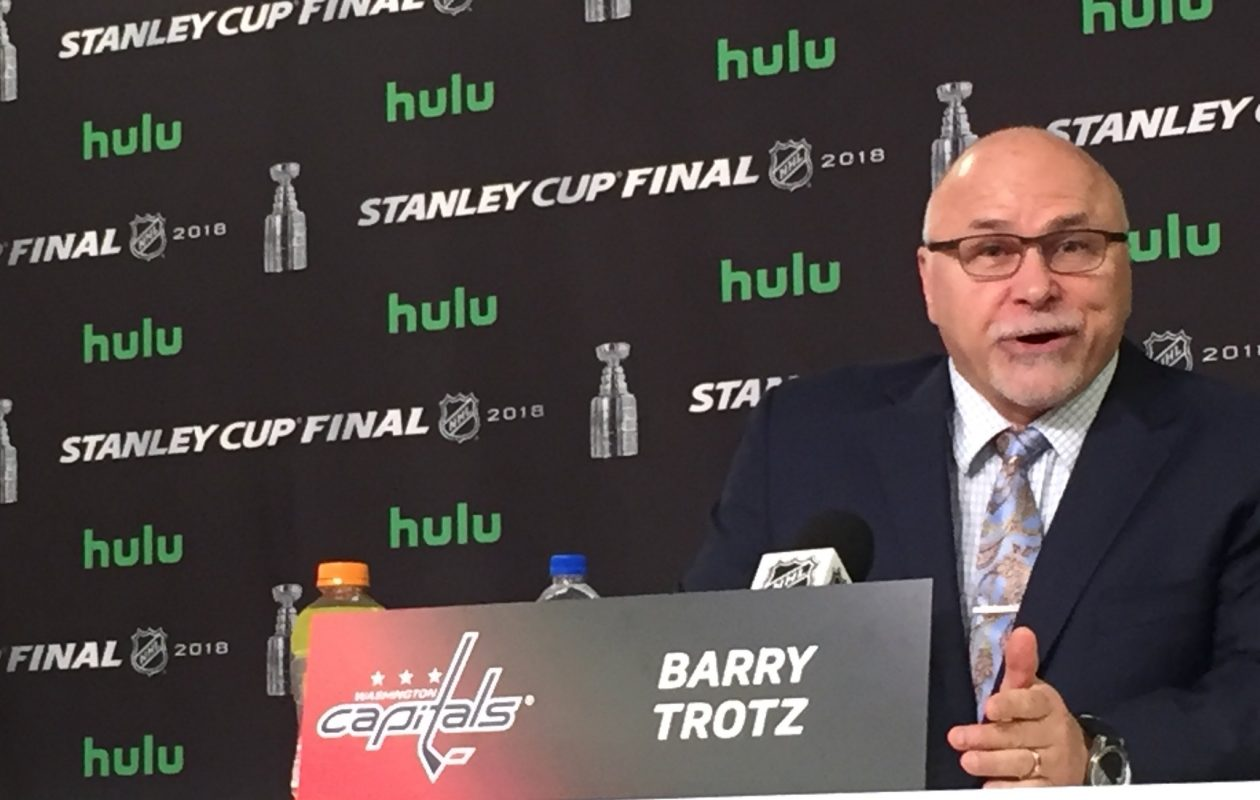 Capitals coach Barry Trotz meets reporters prior to Game 2 on Wednesday in Las Vegas. (Mike Harrington/Buffalo News).