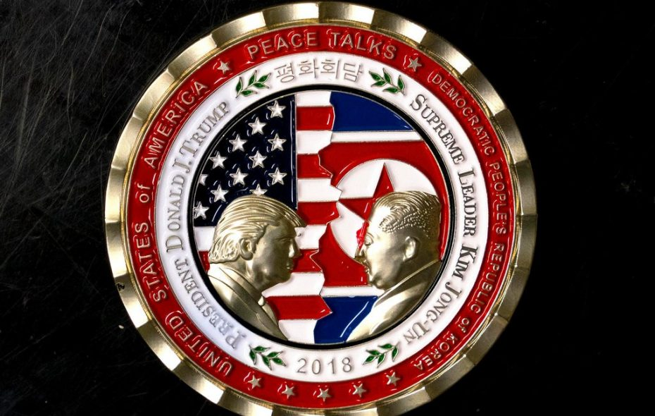 The coin issued by the White House Communications Agency, a military unit that handles presidential communications, marking the supposed summit between President Trump and North Korean dictator Kim Jong Un. (Doug Mills/The New York Times}