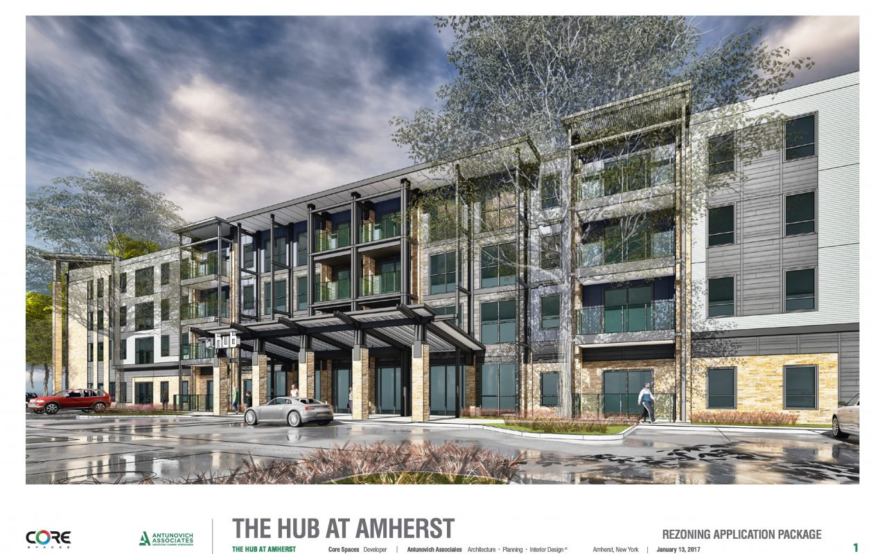This rendering shows what the Hub at Amherst, a 154-unit student housing complex planned for North Forest Road near Bryant Woods South. The Amherst Town Board on Wednesday, May 16, 2018, approved the project one year after rejecting it. (Image courtesy Core Campus)