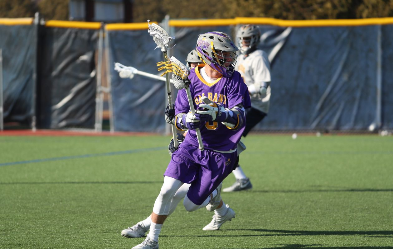 Connor Fields has overcome a knee injury to help Albany makes its first NCAA Final Four appearance in men's lacrosse. (James P. McCoy/Buffalo News)