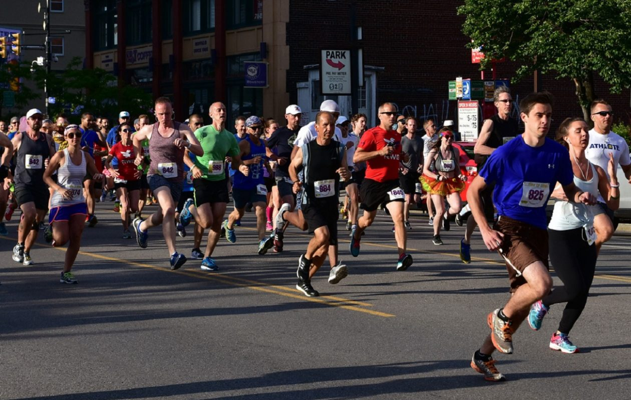 The Buffalo Pride Center will move its annual Gay 5K from the Chippewa District to Larkinville on Wednesday. It will be part of a larger Larkin Moves fitness festival, which starts at 6 a.m. and runs into darkness. (Buffalo News file photo)