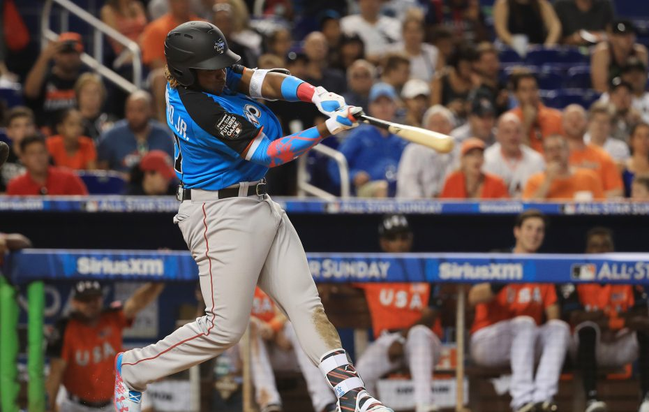 Vladimir Guerrero Jr., shown in last year's All-Star Futures Game in Miami, will make his Triple-A debut in Buffalo on Tuesday. (Getty Images)