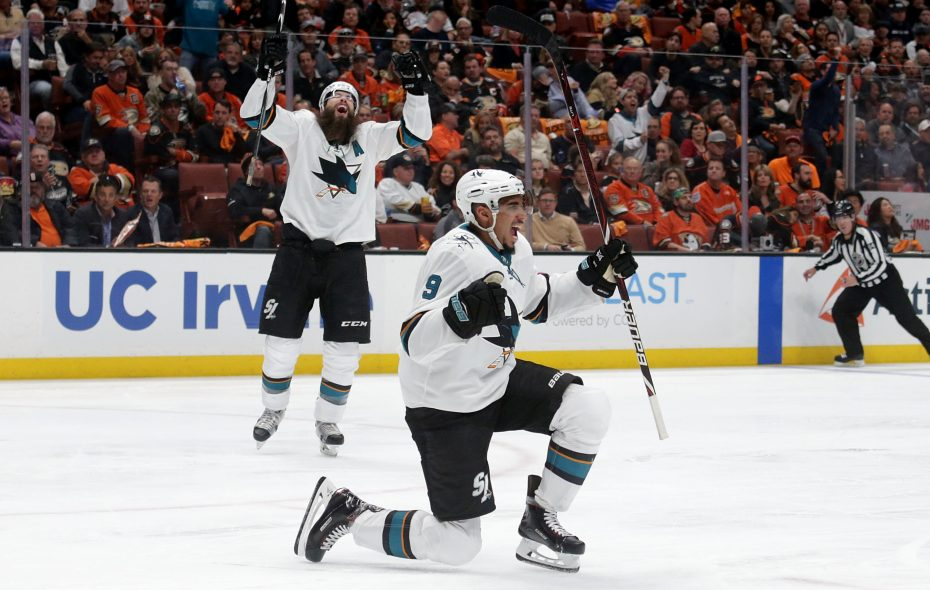 Evander Kane celebrated often after a trade to the San Jose Sharks. (Getty Images)