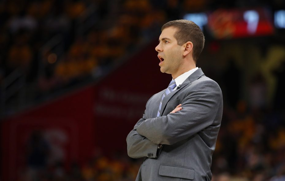 Head coach Brad Stevens of the Boston Celtics reacts in the first half against the Cleveland Cavaliers during Game Three of the 2018 NBA Eastern Conference Finals at Quicken Loans Arena on May 19, 2018, in Cleveland. (Getty Images)