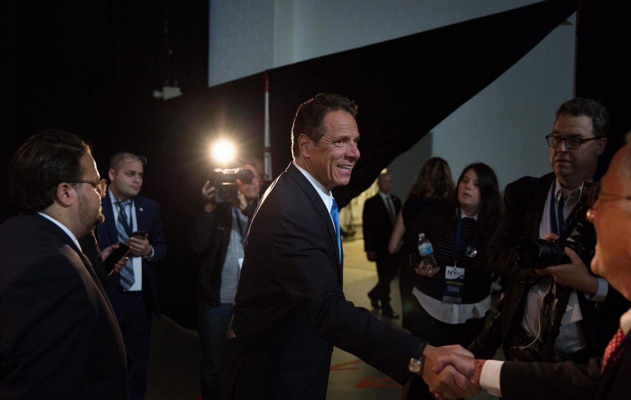 Gov. Andrew Cuomo departs after speaking to the press during the New York Democratic convention at Hofstra University on May 23, 2018, in Hempstead. (Getty Images)