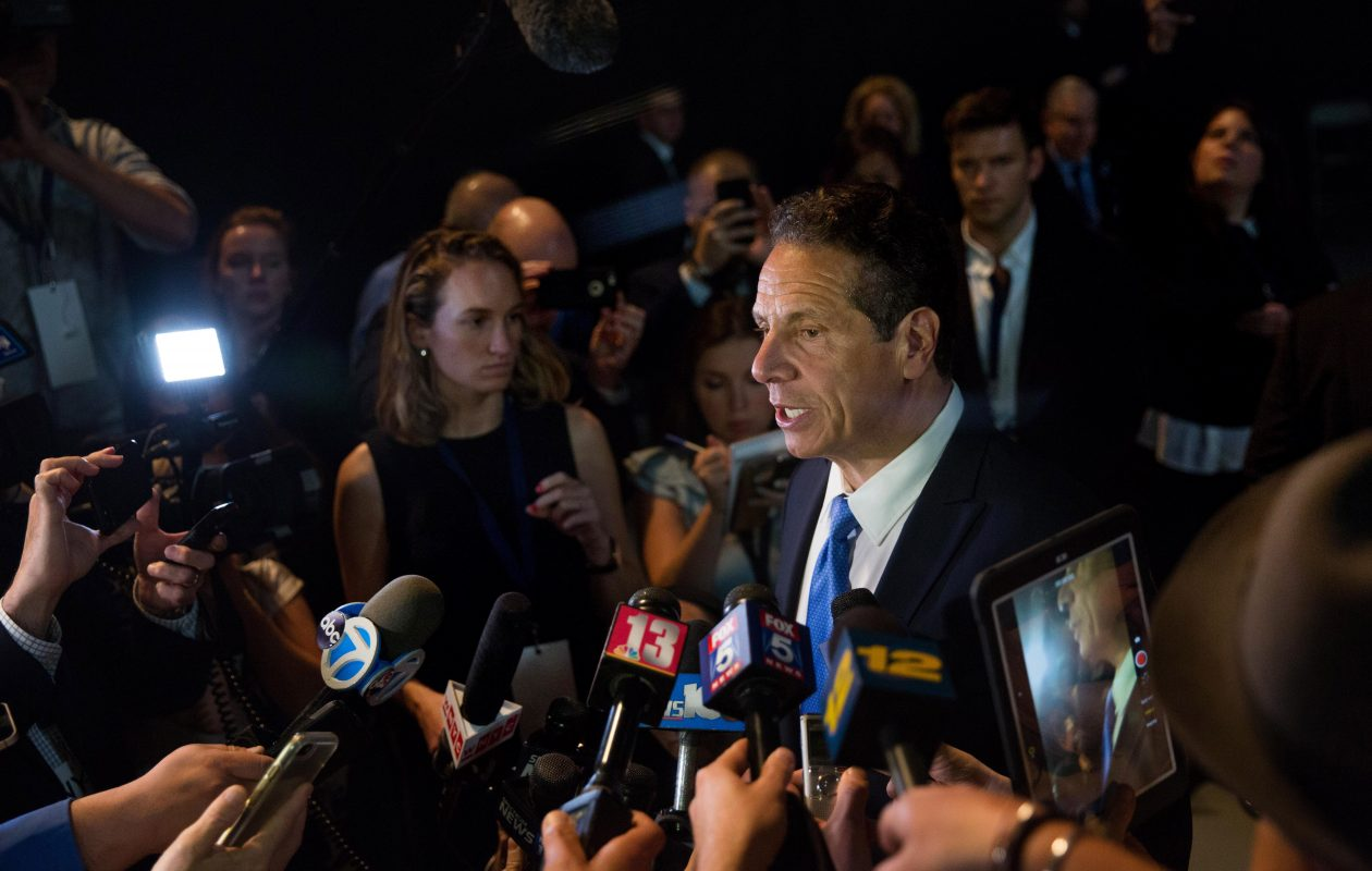 Gov. Andrew Cuomo speaks to the press during the New York Democratic convention at Hofstra University Wednesday in Hempstead. (Photo by Kevin Hagen/Getty Images)