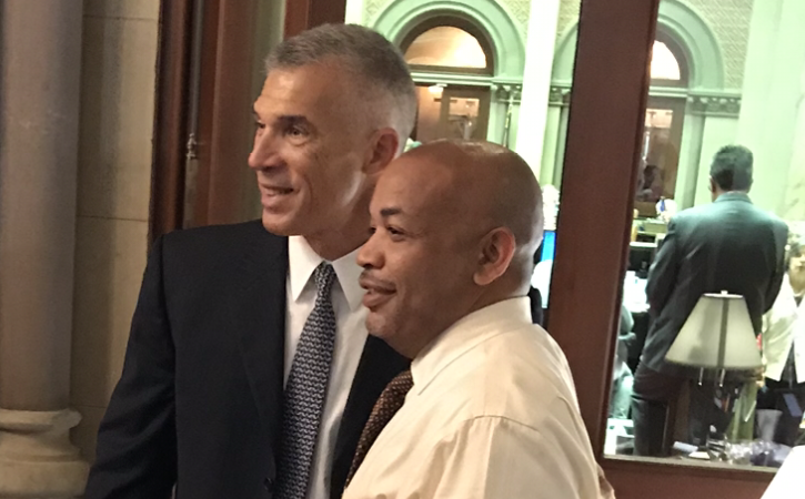 Former Yankees manager Joe Girardi posed Wednesday in the Capitol with Assembly Speaker Carl Heastie. (Tom Precious/Buffalo News)