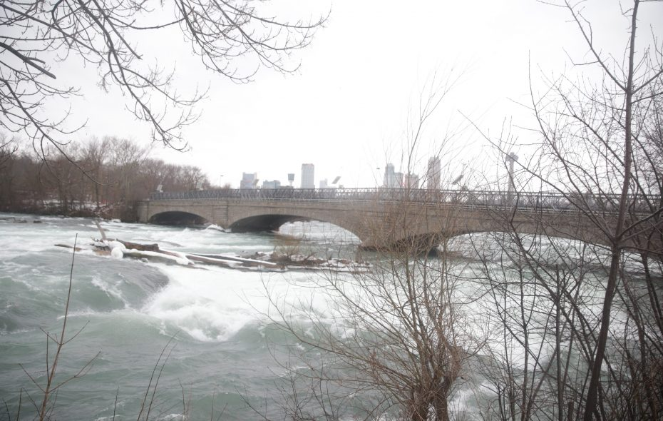 The pedestrian bridge to Goat Island in Niagara Falls State Park is slated for demolition — at some point. (John Hickey/News file photo)