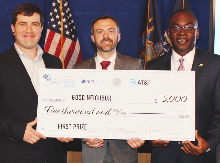 Clark Dever, on left, and Jordan Walbesser, center, won $5,000 Tuesday in Buffalo's first annual Civic Innovation Challenge. (Photo provided by the City of Buffalo)